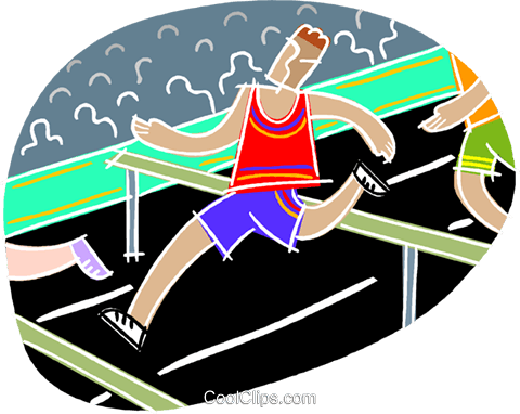Running hurtles Royalty Free Vector Clip Art illustration vc001180