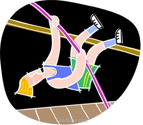 Pole vaulting Royalty Free Vector Clip Art illustration vc001182