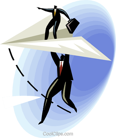 two salesmen sailing through a vortex Royalty Free Vector Clip Art illustration vc001199