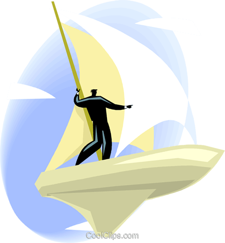 man sailing through space on a sailing sh Royalty Free Vector Clip Art illustration vc001206