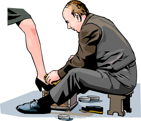 Shoe shiner Royalty Free Vector Clip Art illustration vc001229