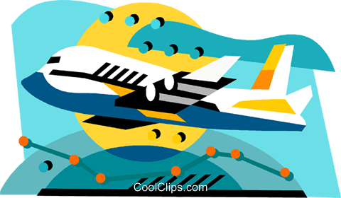 Airplane international flight Royalty Free Vector Clip Art illustration vc001242