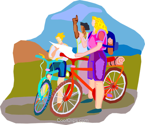 Bike tour Royalty Free Vector Clip Art illustration vc001245