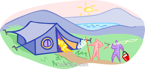 camping with a tent and fishermen Royalty Free Vector Clip Art illustration vc001253