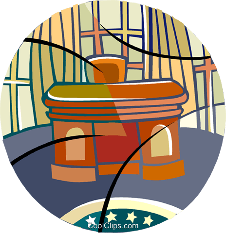 The Oval Office, The President's desk Royalty Free Vector Clip Art illustration vc001280