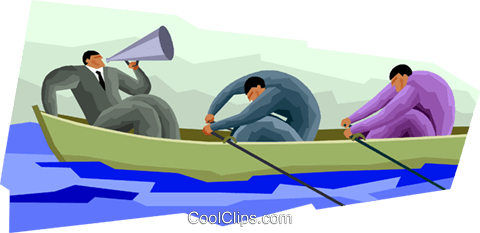 oarsmen rowing a boat, sculling Royalty Free Vector Clip Art illustration vc001290