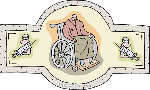 Person in wheel chair Royalty Free Vector Clip Art illustration vc001305