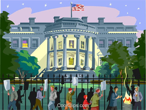 Protest outside White House Royalty Free Vector Clip Art illustration vc001308