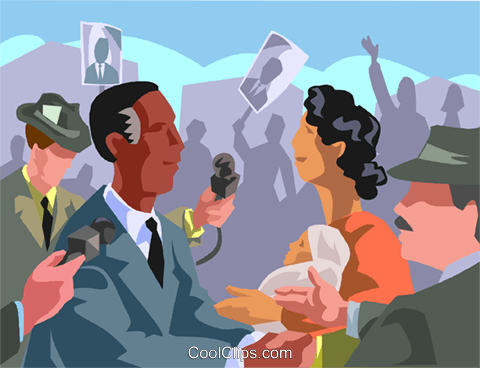 Politician on a campaign trail Royalty Free Vector Clip Art illustration vc001312
