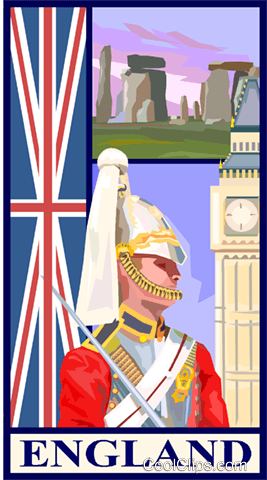 England postcard design Royalty Free Vector Clip Art illustration vc001326