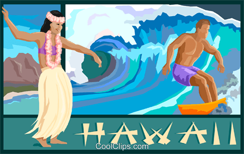 Hawaii postcard design Royalty Free Vector Clip Art illustration vc001327