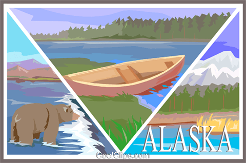 Alaska postcard design Royalty Free Vector Clip Art illustration vc001330