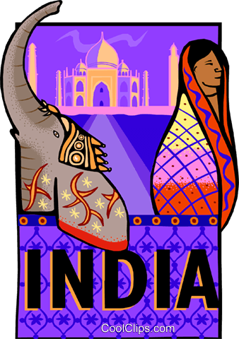 India postcard design Royalty Free Vector Clip Art illustration vc001331