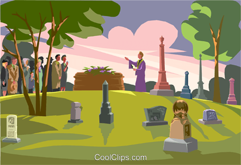 funeral service, at the gravesite Royalty Free Vector Clip Art illustration vc001339