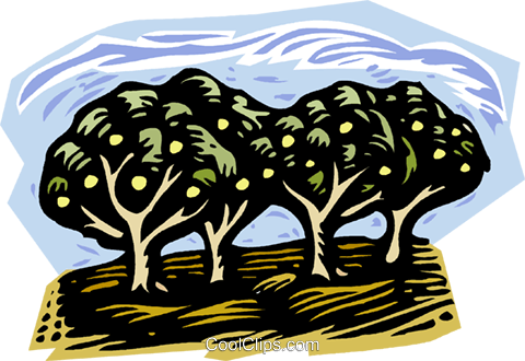 nature, woodcut style, fruit trees Royalty Free Vector Clip Art illustration vc001349