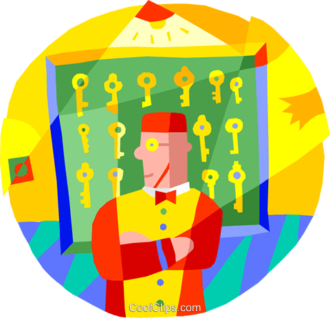 hotel worker with room keys Royalty Free Vector Clip Art illustration vc001368
