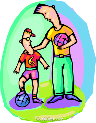 Father and son, playing soccer Royalty Free Vector Clip Art illustration vc001370