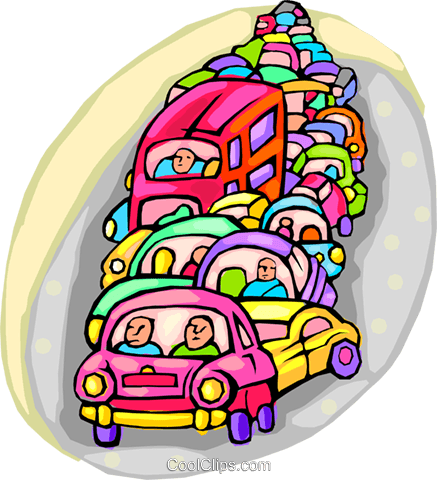traffic congestion Royalty Free Vector Clip Art illustration vc001372