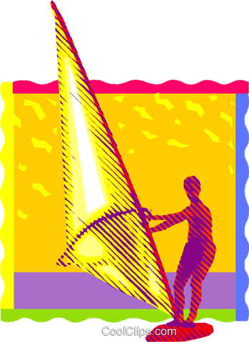 sail boarding, wind surfing Royalty Free Vector Clip Art illustration vc001388