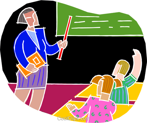 chalk style, teacher with students Royalty Free Vector Clip Art illustration vc001460
