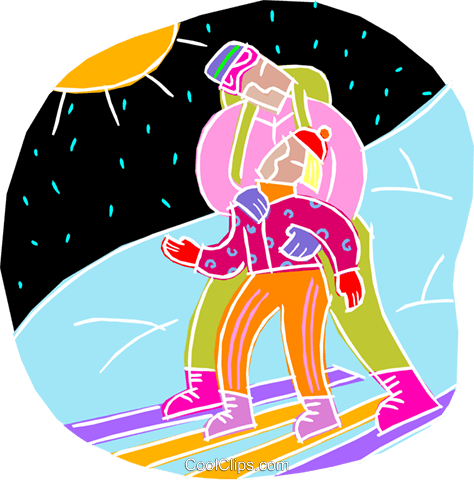 chalk style, learning to ski Royalty Free Vector Clip Art illustration vc001467