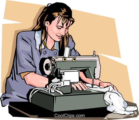 woman with a sewing machine Royalty Free Vector Clip Art illustration vc001495