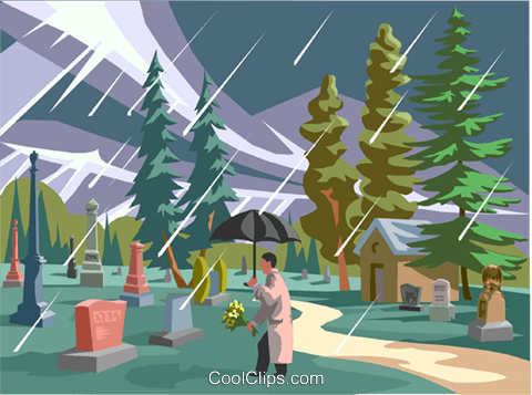 visiting a grave, paying respects Royalty Free Vector Clip Art illustration vc001497