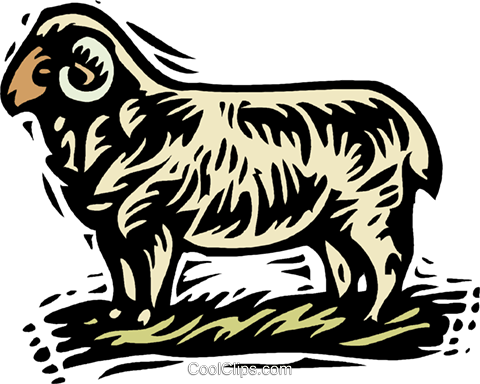 farm scene, sheep Royalty Free Vector Clip Art illustration vc001514
