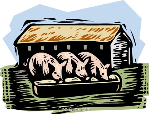 farm scene, pigs Royalty Free Vector Clip Art illustration vc001515