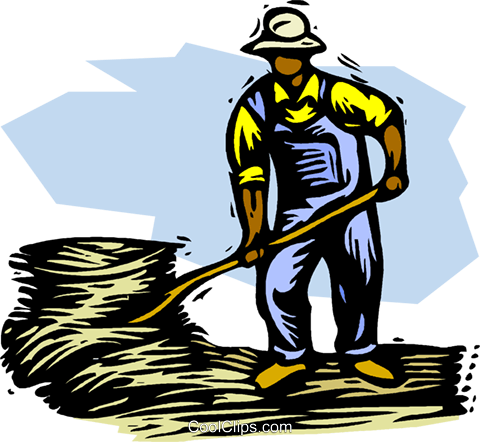 Farmer with pitch fork and hay Royalty Free Vector Clip Art illustration vc001517