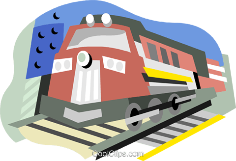 Train in the yard Royalty Free Vector Clip Art illustration vc001550