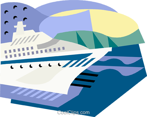 Cruise ship Royalty Free Vector Clip Art illustration vc001551