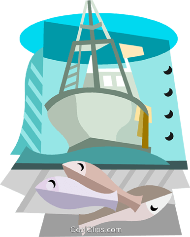 Commercial fishing boat with fish Royalty Free Vector Clip Art illustration vc001560