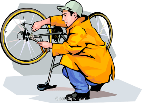 Boy adjusting his bicycle Royalty Free Vector Clip Art illustration vc001652