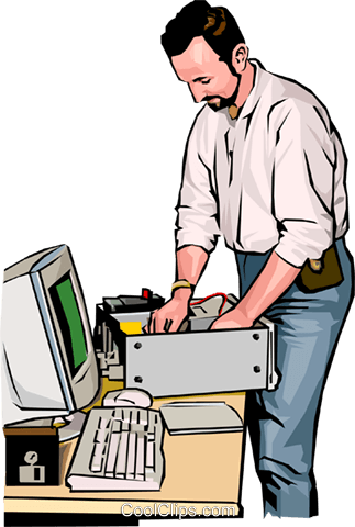 Computer technician Royalty Free Vector Clip Art illustration vc001658