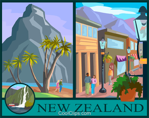 New Zealand postcard design Royalty Free Vector Clip Art illustration vc001683