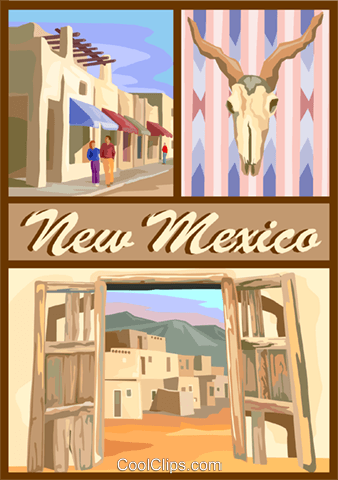 New Mexico postcard design Royalty Free Vector Clip Art illustration vc001684