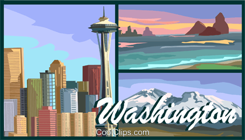 Washington postcard design Royalty Free Vector Clip Art illustration vc001689