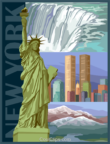 New York postcard design Royalty Free Vector Clip Art illustration vc001695