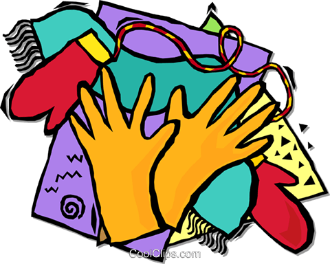 gloves and mittens Royalty Free Vector Clip Art illustration vc001711