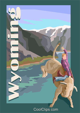 Wyoming postcard design Royalty Free Vector Clip Art illustration vc001739