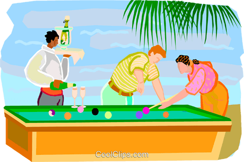 People playing pool while on vacation Royalty Free Vector Clip Art illustration vc001756