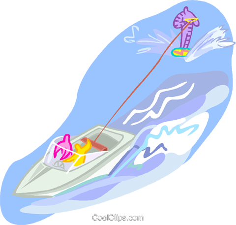 summer sports, water skiing Royalty Free Vector Clip Art illustration vc001798