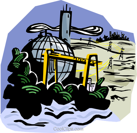 nuclear power industry, hydro facility Royalty Free Vector Clip Art illustration vc001805
