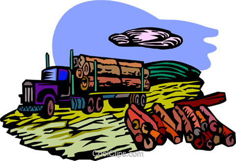 forestry industry, lumber truck Royalty Free Vector Clip Art illustration vc001813