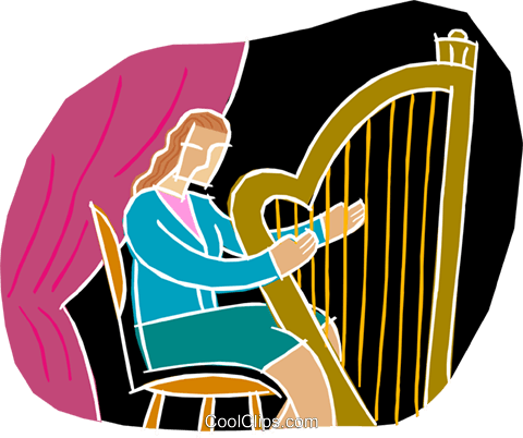 chalk style, playing the harp Royalty Free Vector Clip Art illustration vc001831