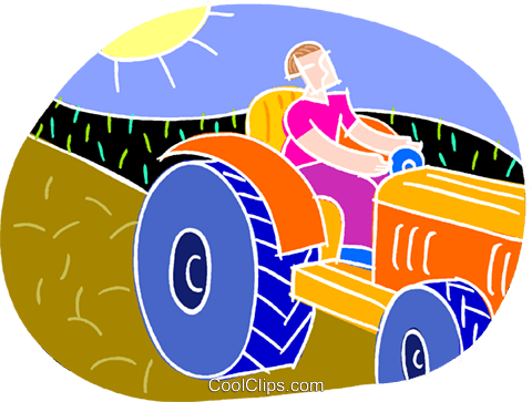 chalk style, farmer with tractor Royalty Free Vector Clip Art illustration vc001836