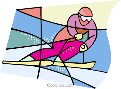 Olympic sports, downhill skiing Royalty Free Vector Clip Art illustration vc001839