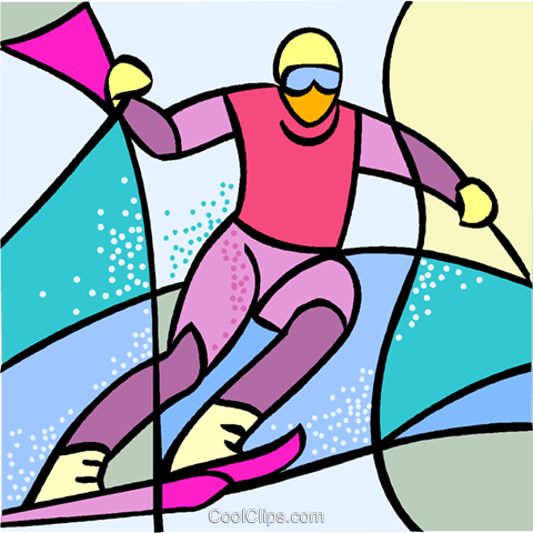 Olympic sports, downhill skiing Royalty Free Vector Clip Art illustration vc001851