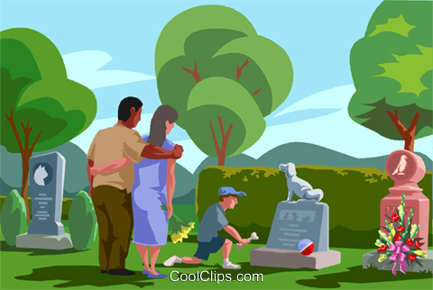 visiting a grave, paying respects Royalty Free Vector Clip Art illustration vc001879